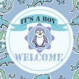 Baby shower and welcome greeting card. Text It`s a Boy, Welcome. Royalty Free Stock Images