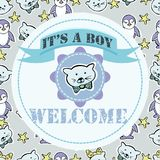 Baby shower and welcome greeting card. Text It`s a Boy, Welcome. Royalty Free Stock Photos