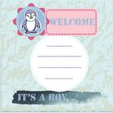 Baby shower and welcome greeting card. Text It`s a Boy, Welcome. Royalty Free Stock Image