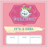 Baby shower and welcome greeting card. Text It`s a Girl, Welcome. Little kittens,  sticker. Watercolor texture. Vector illustration Stock Photography
