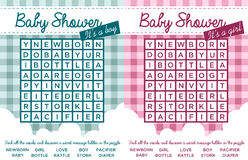 Baby Shower Word Puzzles stock illustration