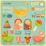 Baby showeraffisch vektor illustrationer