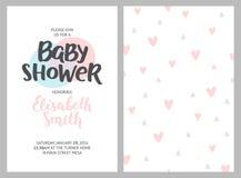 Baby showerflicka- och pojkeinbjudningar royaltyfri illustrationer