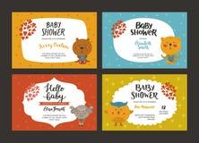 Baby showerflicka- och pojkeinbjudningar Royaltyfri Bild