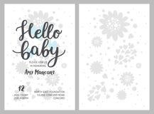 Baby showerflicka- och pojkeinbjudningar, vektormallar Royaltyfri Foto