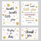 Baby showerflickamallar blinkar liten stjärnatext för glimtet med den rosa stjärnan för den guld- pricken som invtationen tackar  stock illustrationer