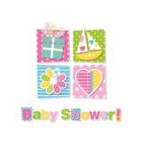 Baby showerhälsningkort Arkivbilder