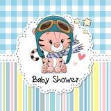 Baby showerhälsningkort stock illustrationer