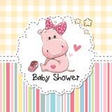Baby showerhälsningkort med flodhästen stock illustrationer