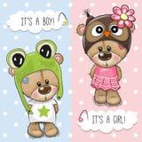 Baby showerhälsningkort med gulliga björnar stock illustrationer