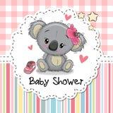 Baby showerhälsningkort med tecknad filmkoalaflickan royaltyfri illustrationer