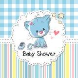 Baby showerhälsningkort med kattungen Royaltyfri Fotografi