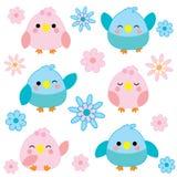Baby showerillustration med gulliga blåa och rosa fåglar Royaltyfri Illustrationer