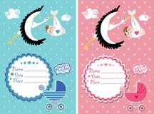 Baby showerinbjudan med nyfött behandla som ett barn Arkivfoto