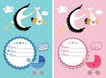 Baby showerinbjudan med nyfött behandla som ett barn Arkivbilder