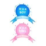Baby showerinbjudanklistermärkear Royaltyfri Fotografi