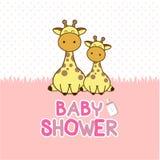 Baby showerinbjudankort Behandla som ett barn girafftecknade filmen royaltyfri illustrationer