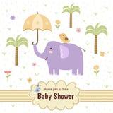Baby showerinbjudankort med en gullig elefant Arkivfoto