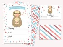 Baby showerinbjudankort med gullig sengångare vektor illustrationer