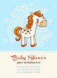 Baby showerinbjudankort med hästen Royaltyfri Foto