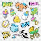 Baby showerklotter med pojken, flickan och leksaker Klistermärkear för familjpartigarnering Royaltyfria Foton