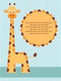 Baby showerkort/födelsedagkort med giraffet. Arkivfoto