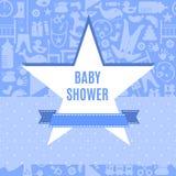 Baby showerkort i blått- och rosa färgfärg Royaltyfria Bilder