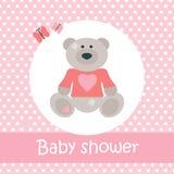 Baby showerkort med björnen och fjärilar vektor illustrationer