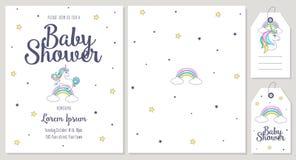 Baby showerkort med den gulliga enhörningen royaltyfri illustrationer