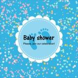 Baby showerkort med konfettier bl? affisch royaltyfri illustrationer