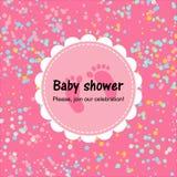 Baby showerkort med konfettier Rosa affisch stock illustrationer