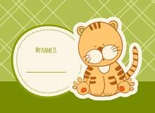 Baby showerkort med tigern royaltyfri foto