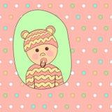 Baby showerkortdesign Liten gullig flicka i härlig dräkt vektor illustrationer