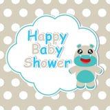 Baby showerkortet med tecknade filmen av gulligt behandla som ett barn flodhästramen på prickbakgrund som är passande för baby sh Royaltyfri Foto