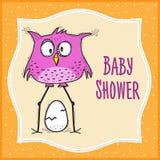 Baby showerkortmall med den roliga klotterfågeln Royaltyfria Bilder