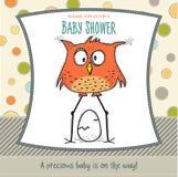 Baby showerkortmall med den roliga klotterfågeln Arkivbild