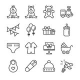 Baby showerlinje symbolsuppsättning Inklusive symbolerna som behandla som ett barn, barn, ballong, gåva, garnering, leksaker och  stock illustrationer