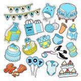Baby showerpojkeklistermärkear, emblem, lappar för garnering för födelsedagparti vektor illustrationer