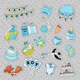 Baby showerpojkeklistermärkear, emblem, lappar för garnering för födelsedagparti royaltyfri illustrationer