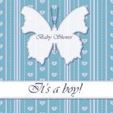Baby showerpojketappning med fjärilsbanret Arkivbild
