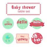 Baby showertabelluppsättning Arkivfoto