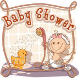 Baby showertecknad filminbjudan Royaltyfri Foto