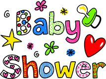 Baby showertecknad filmtext Clipart Royaltyfri Bild