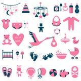 Baby showeruppsättning för flicka Arkivbild