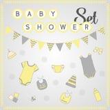 Baby showeruppsättning Gulligt behandla som ett barn clipart Arkivfoton