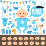 Baby showeruppsättning pojke Arkivfoton