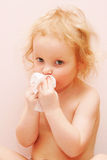 Baby is sick. Has fever and runny nose Stock Photo
