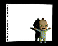 Baby Sign 3. A baby in front of a white sign with the words happy birthday on them Stock Images