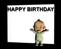 Baby Sign 5. A baby in front of a white sign with the words happy birthday on them Royalty Free Stock Photos
