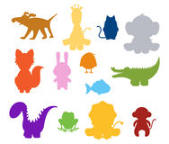 Baby silhouette animals Stock Images